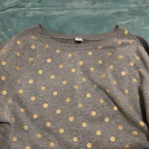 Grey crew neck with gold spots